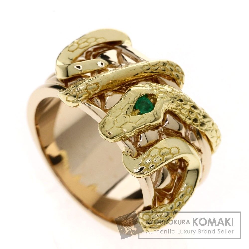 0.03ct エメラルド/蛇モチーフ リング・指輪 K18ピンクゴールド/K18YG 16.5g レディース 【中古】