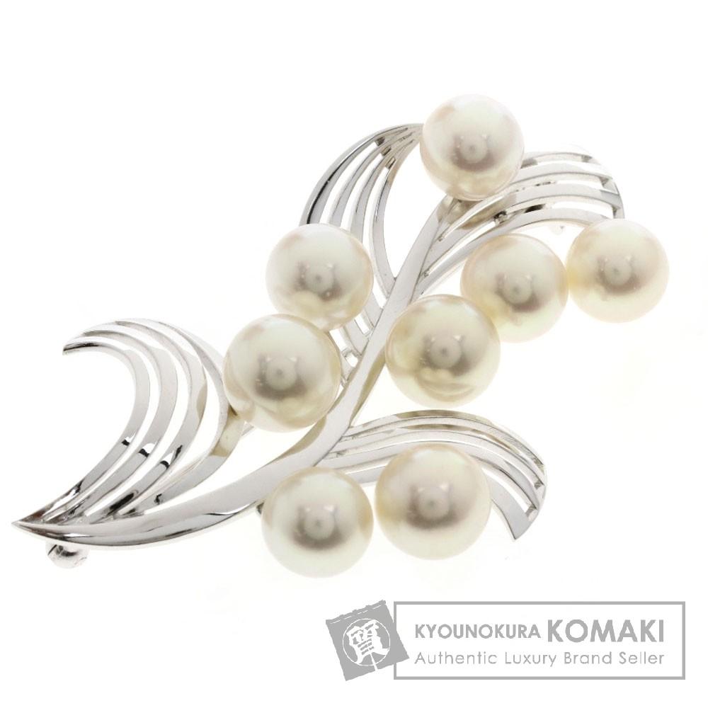 MIKIMOTO パール/真珠 ブローチ K14ホワイトゴールド レディース 【中古】【ミキモト】