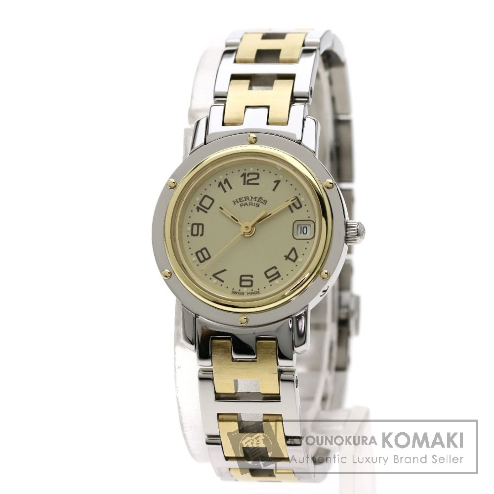 エルメス CL4.220 クリッパー 腕時計 ステンレススチール/コンビ レディース 【中古】 【HERMES】