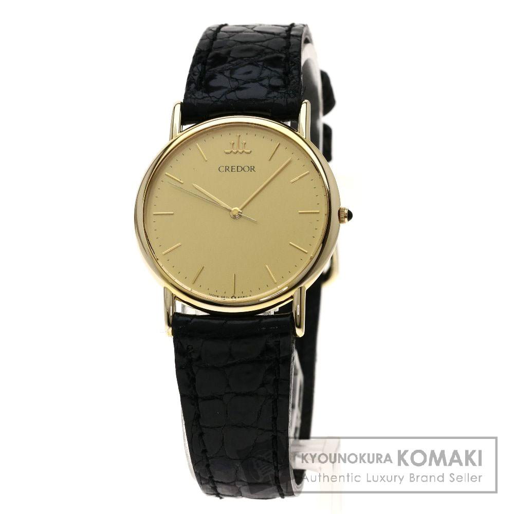 SEIKO 9571-6060 クレドール 腕時計 K14イエローゴールド/レザー メンズ 【中古】【セイコー】