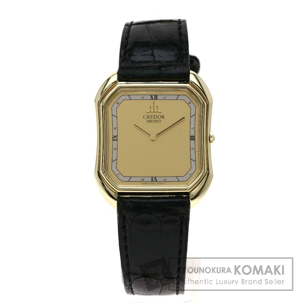 SEIKO 9300-5490 クレドール 腕時計 K14イエローゴールド/レザー メンズ 【中古】【セイコー】