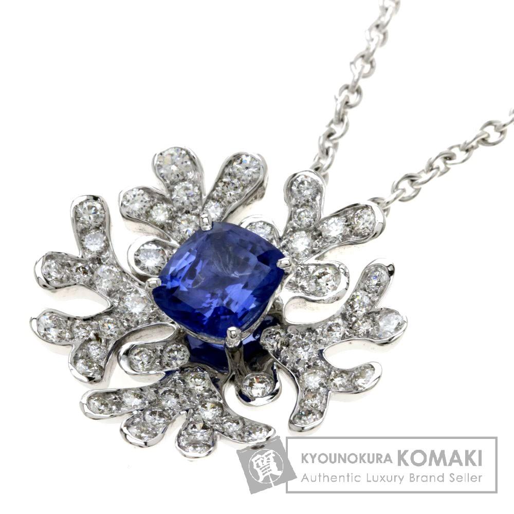 マットン サファイア/ダイヤモンド ネックレス K18ホワイトゴールド 11.4g レディース 【中古】