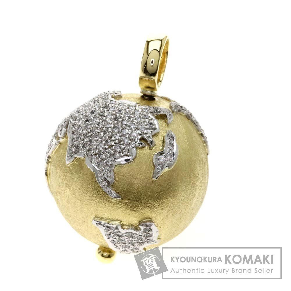 1ct メレダイヤモンド 地球モチーフ ペンダント K18イエローゴールド 29.1g レディース 【中古】