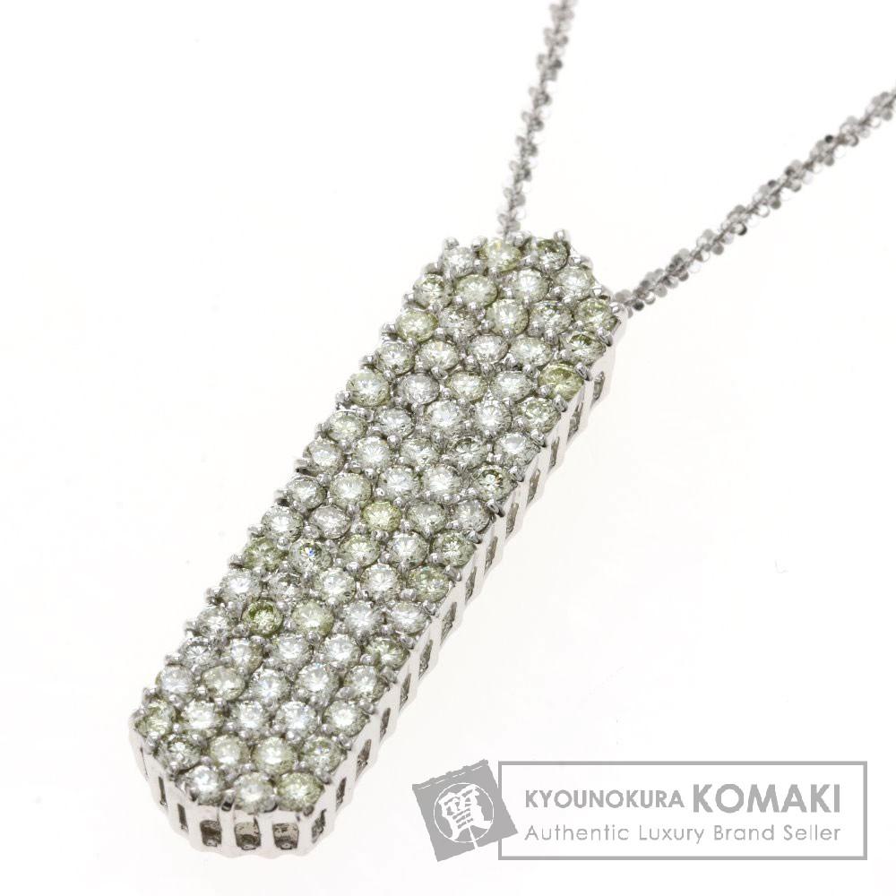 2ct メレダイヤモンド ネックレス K18ホワイトゴールド 10.5g レディース 【中古】