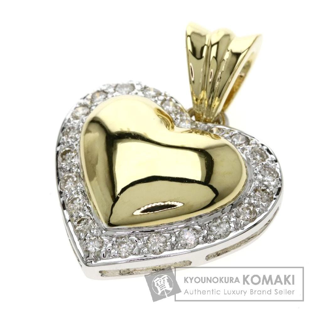 0.36ct メレダイヤモンド ハートモチーフ ペンダント K18ホワイトゴールド 4.7g レディース 【中古】