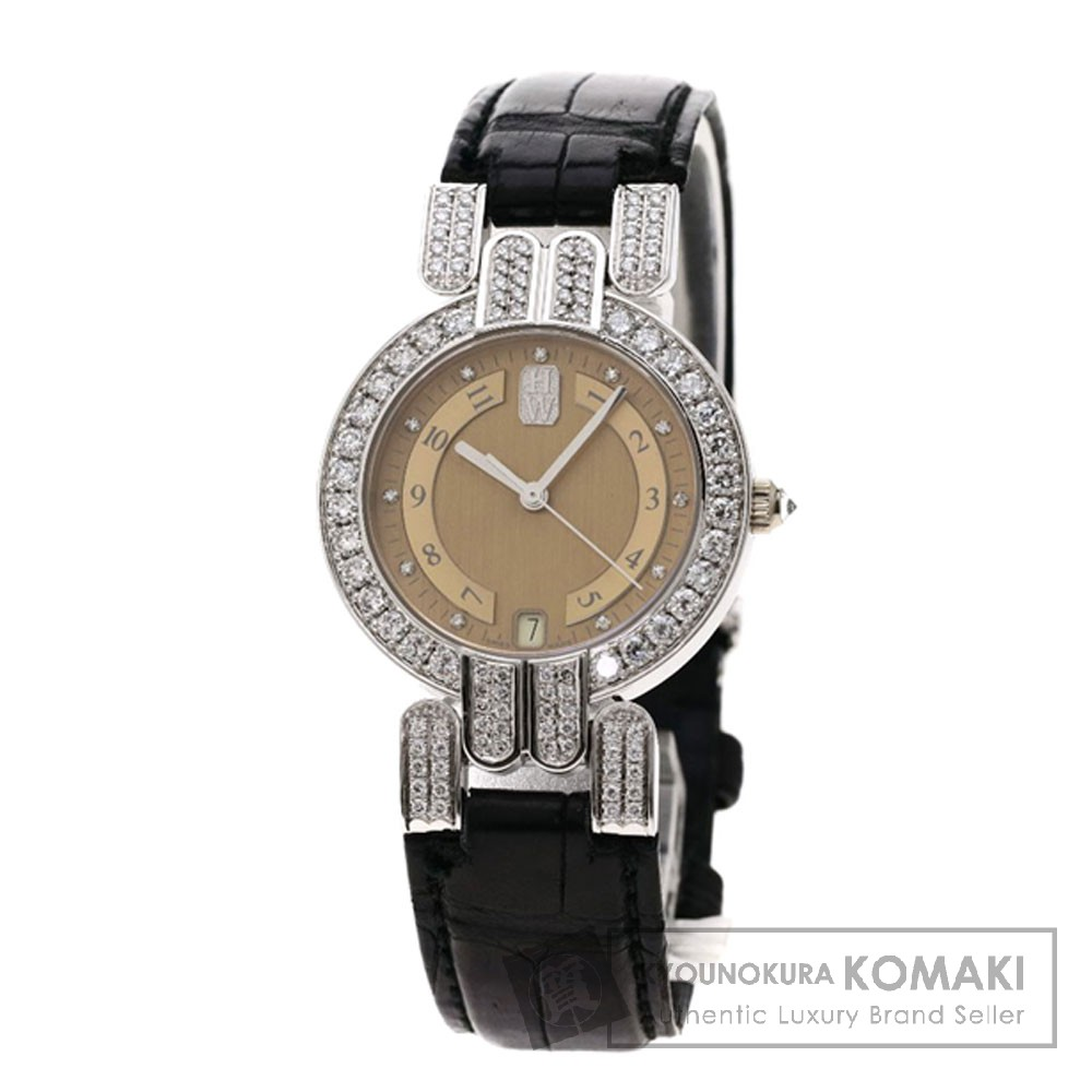 HARRY WINSTON プルミエール ダイヤモンド 腕時計 OH済 K18ホワイトゴールド/アリゲーター レディース 【中古】【ハリーウィンストン】