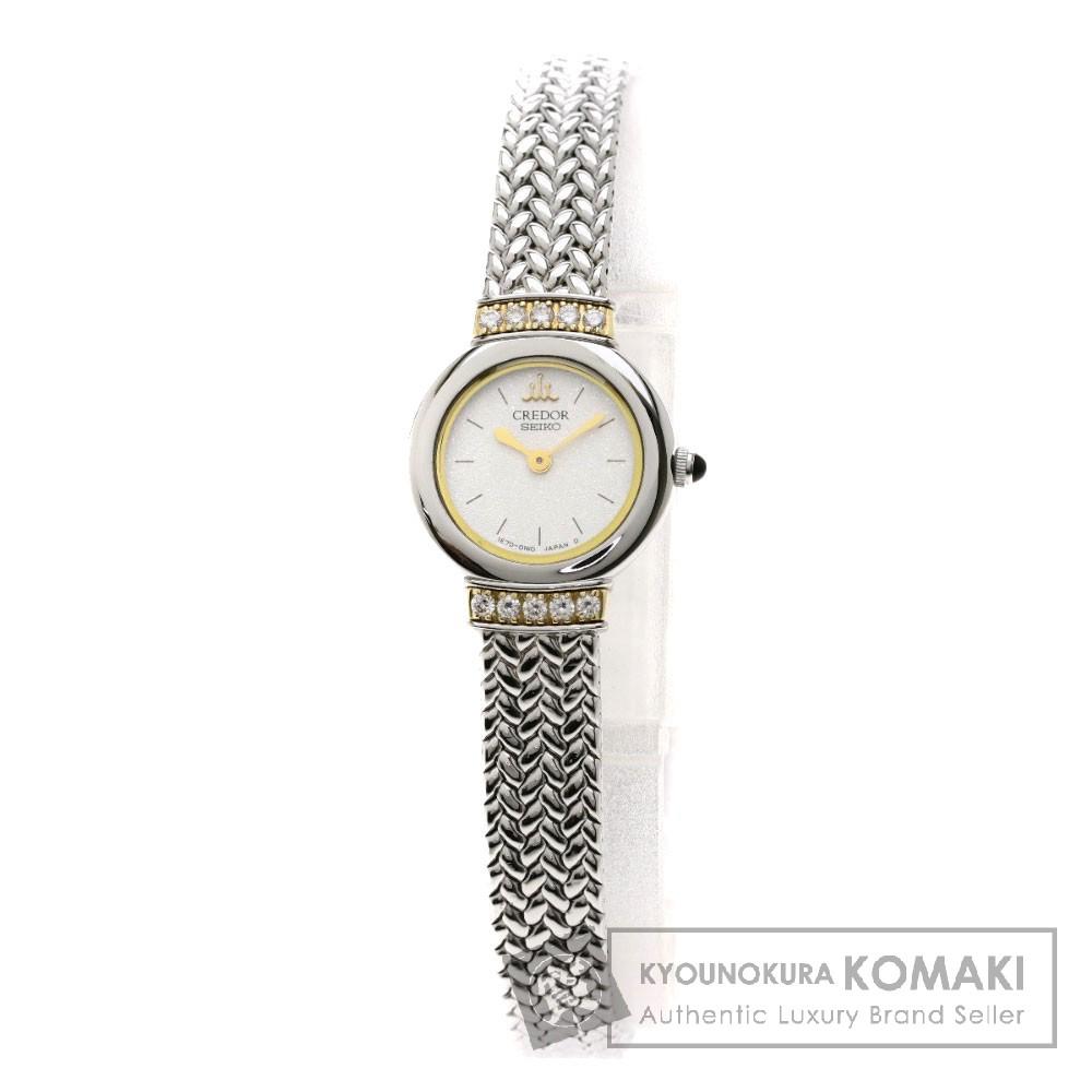SEIKO 1E70-0100 クレドール ダイヤモンド 腕時計 ステンレススチール/K18YGxSS レディース 【中古】【セイコー】