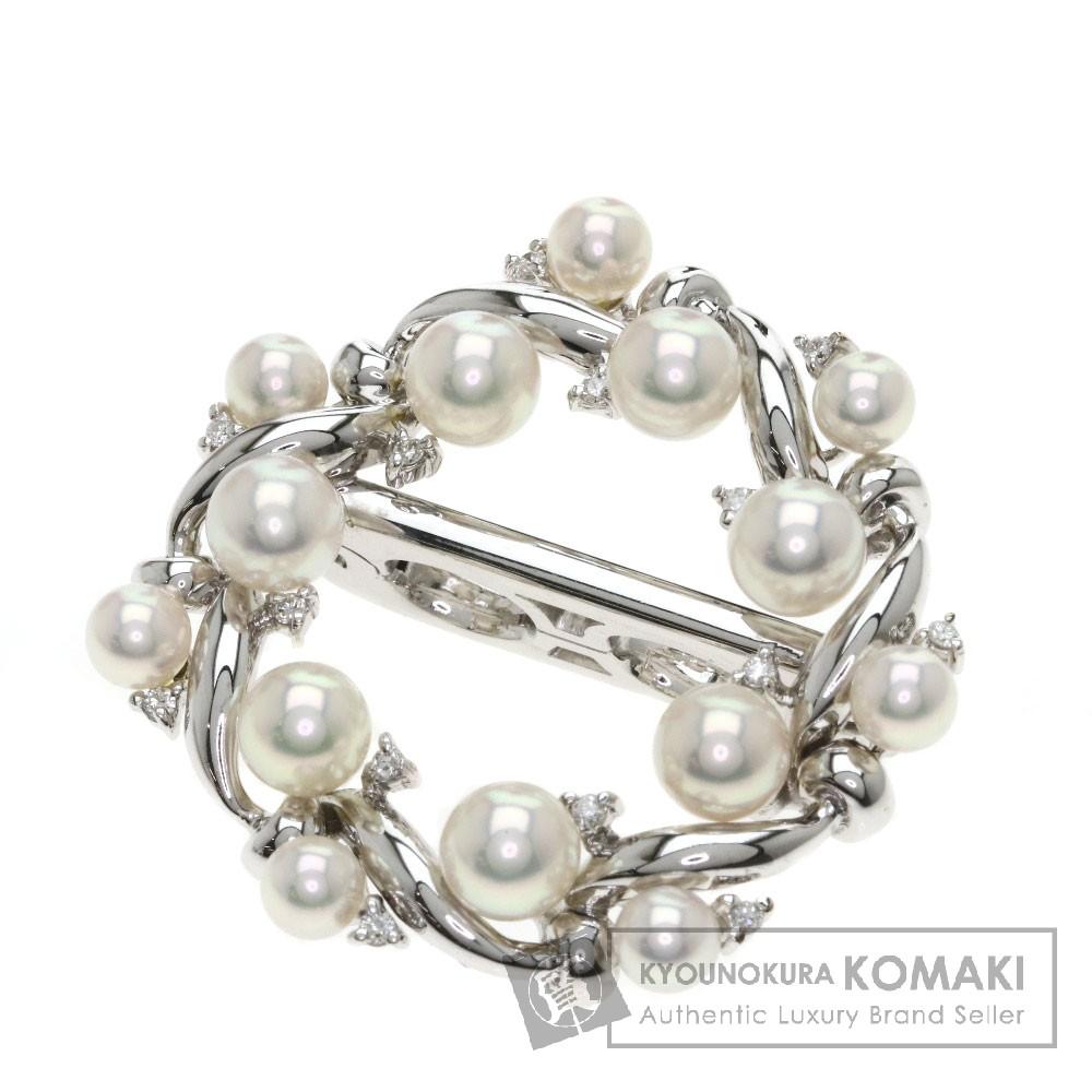 0.14ct パール/真珠/ダイヤモンド ブローチ K18ホワイトゴールド 15.8g レディース 【中古】