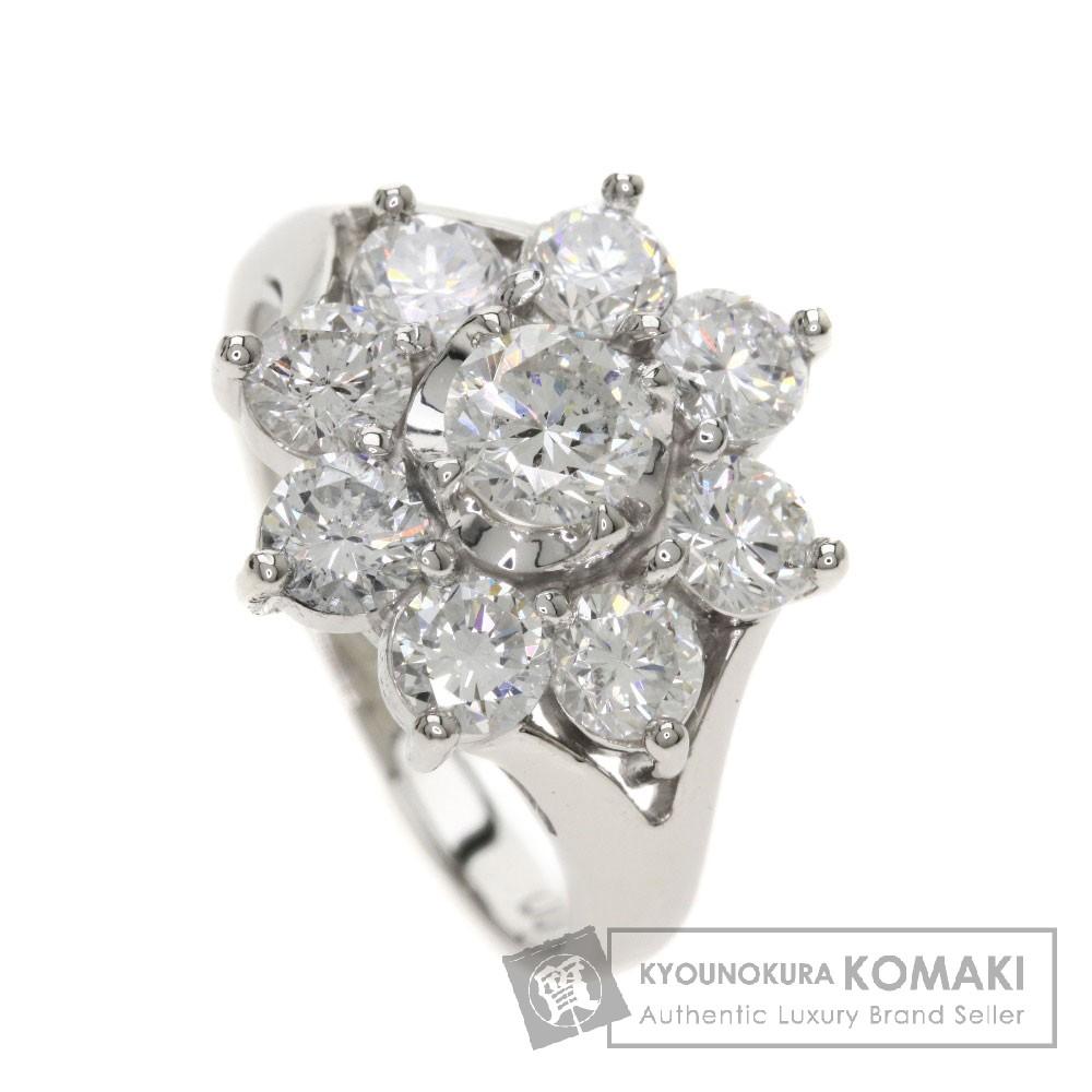 2ct メレダイヤモンド/フラワー リング・指輪 プラチナPT900 6.2g レディース 【中古】