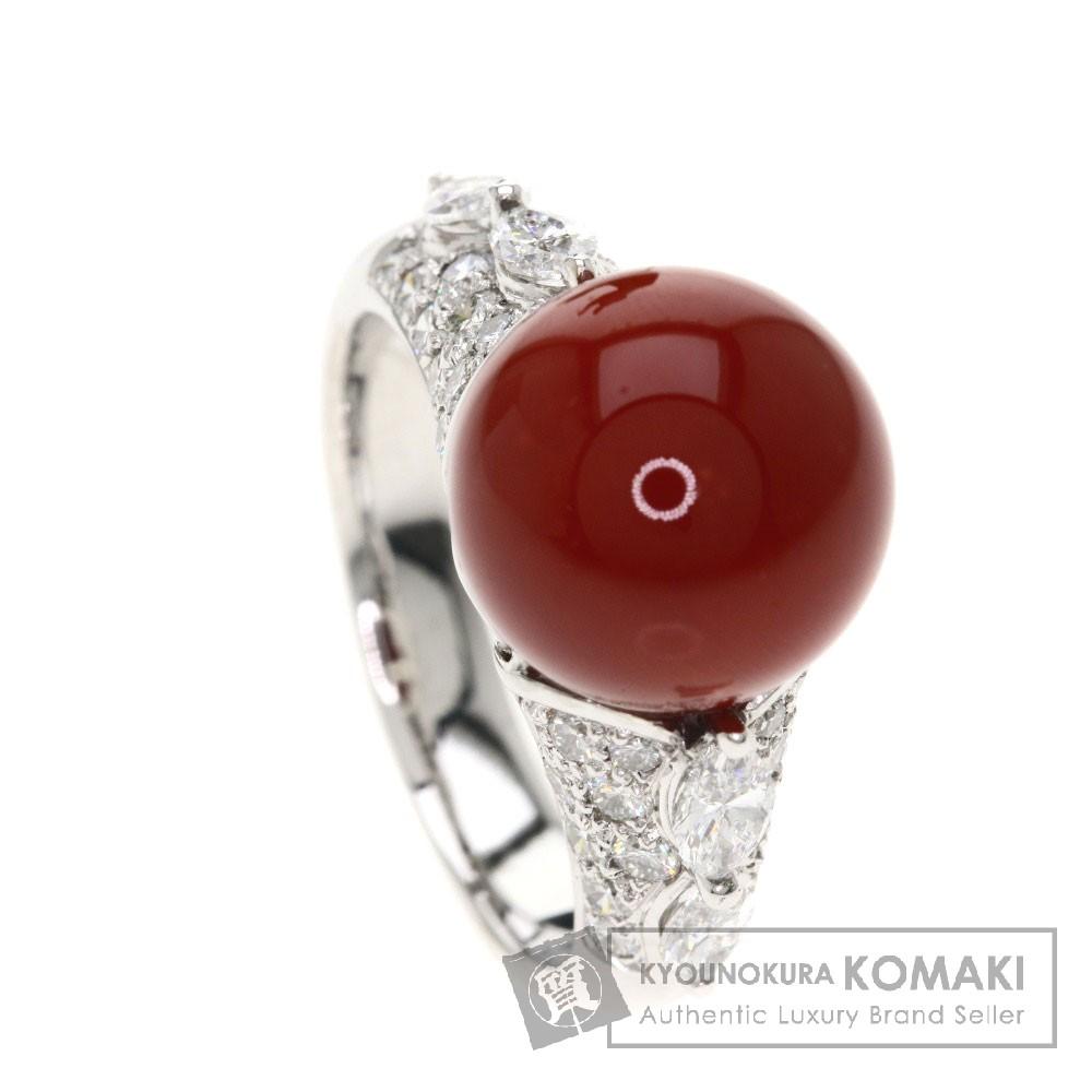 サンゴ/珊瑚/ダイヤモンド リング・指輪 K18ホワイトゴールド 9g レディース 【中古】