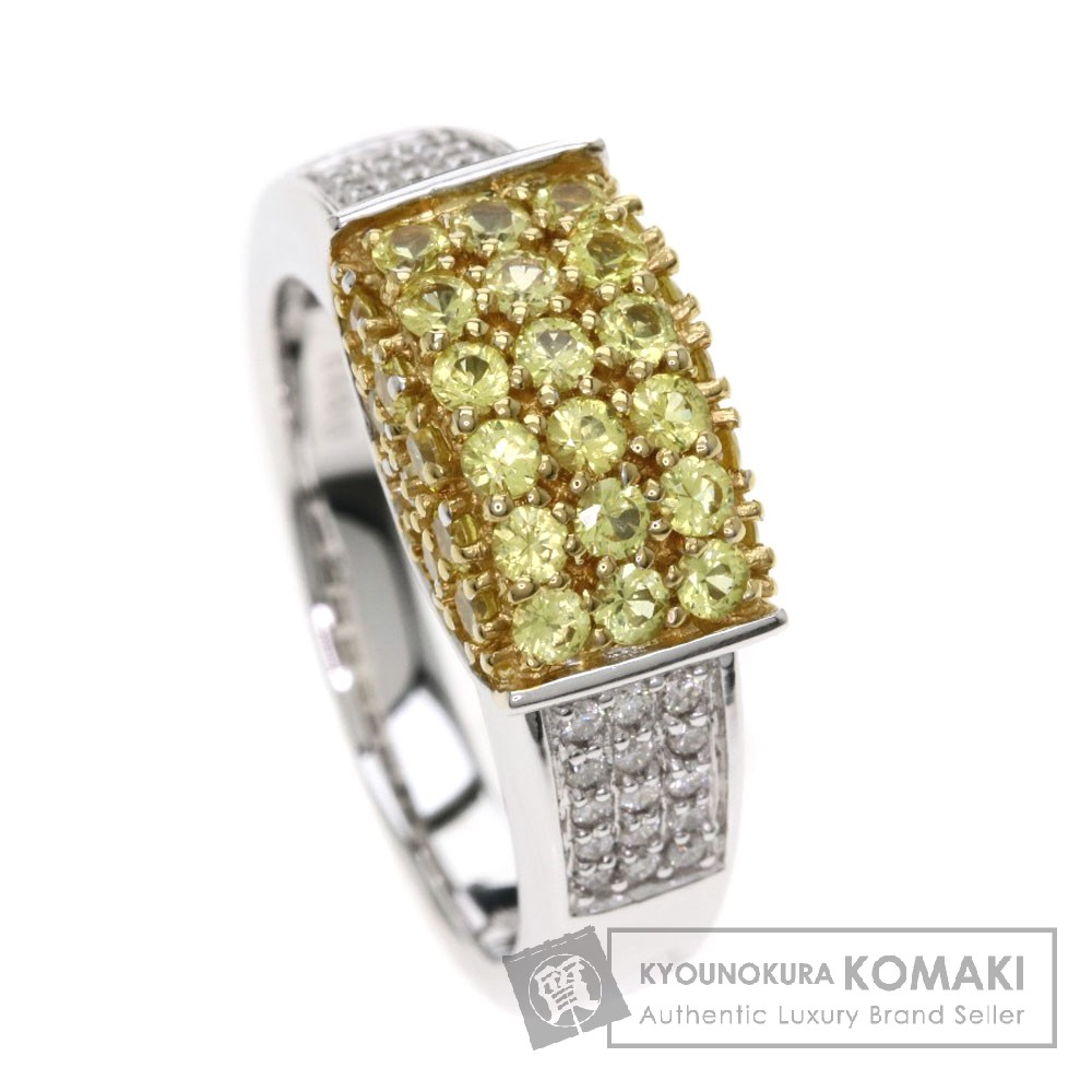 0.19ct イエローサファイア/ダイヤモンド リング・指輪 K18ホワイトゴールド 9g レディース 【中古】