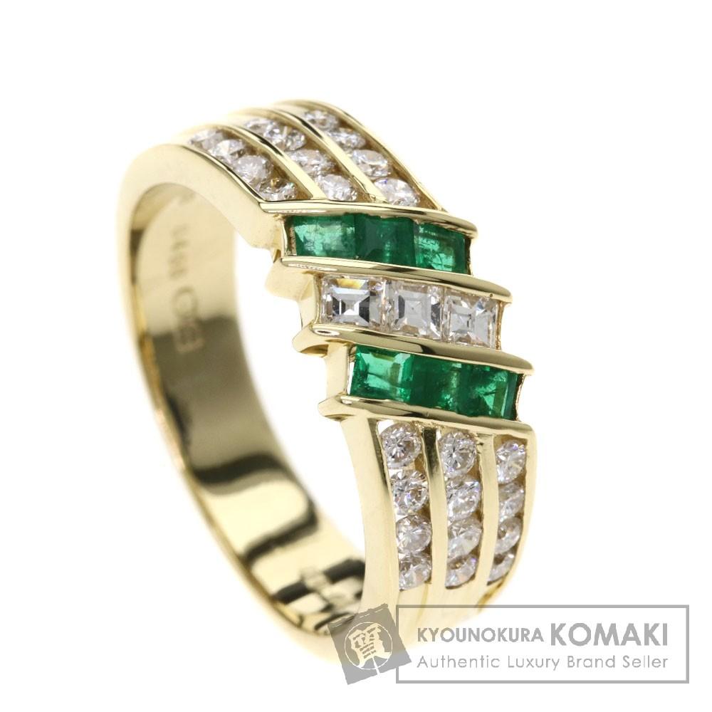 0.466ct エメラルド/ダイヤモンド リング・指輪 K18イエローゴールド 6g レディース 【中古】