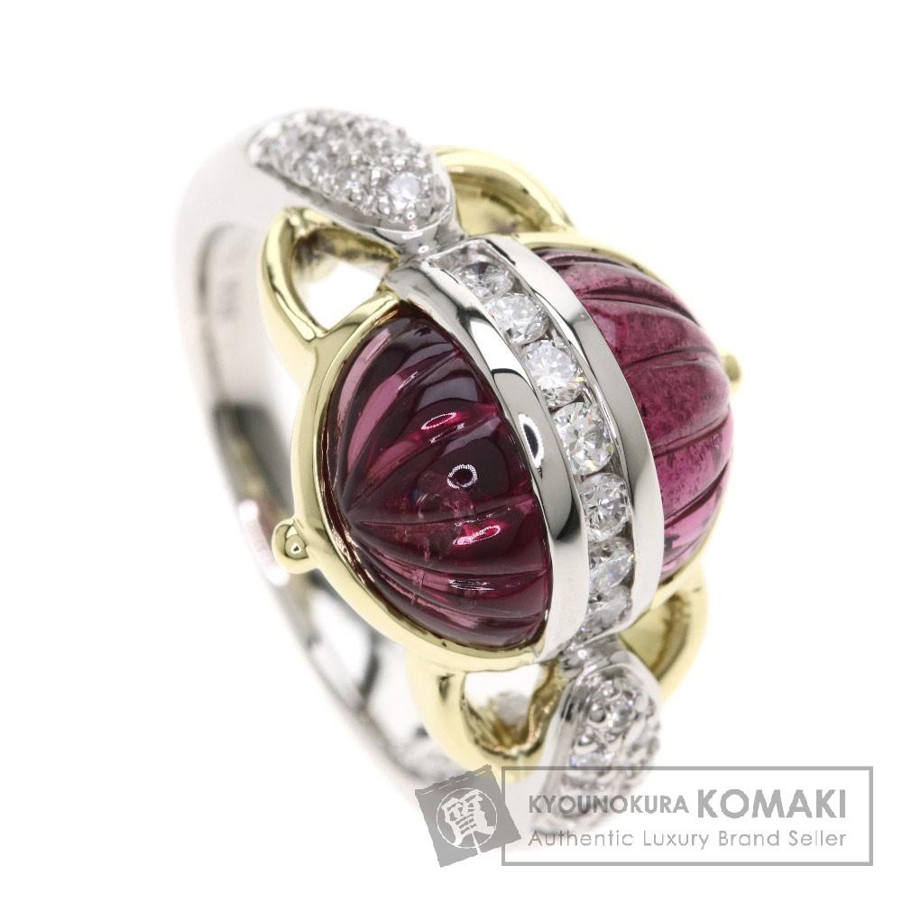 5.37ct トルマリン/ダイヤモンド リング・指輪 プラチナPT900/K18YG 12.2g レディース 【中古】
