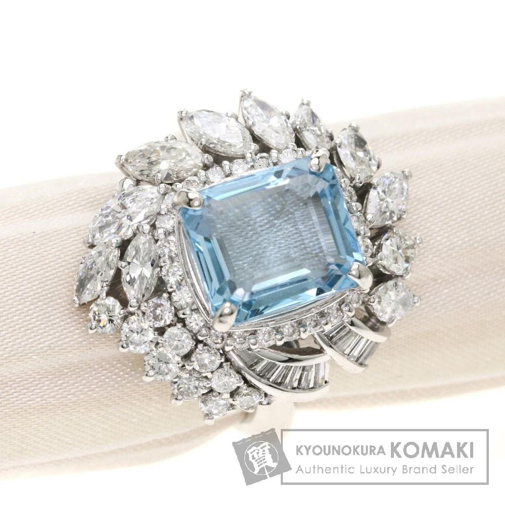 5.666ct アクアマリン/ダイヤモンド リング・指輪 プラチナPM900 15.5g レディース 【中古】