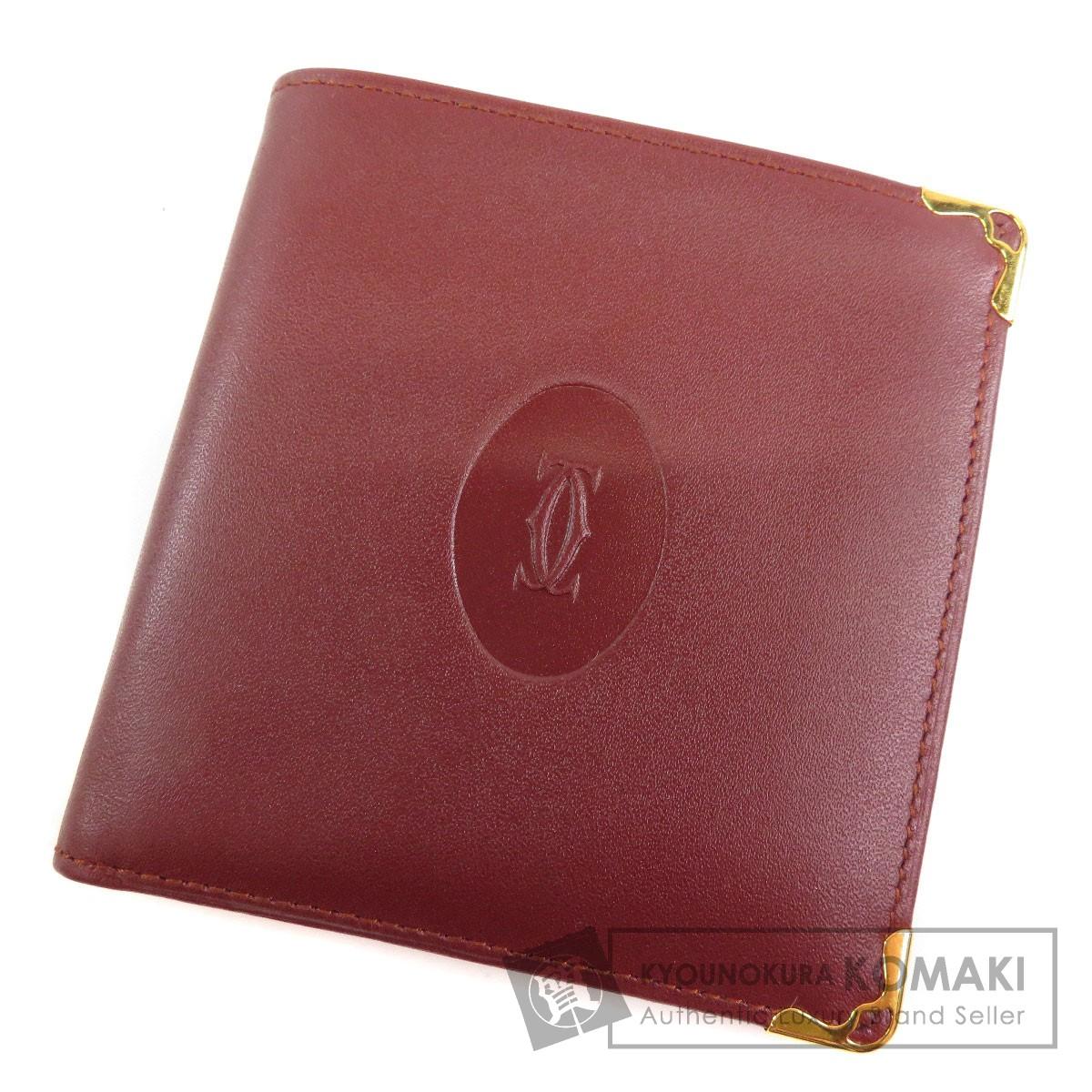 CARTIER ロゴマーク 二つ折り財布(小銭入れあり) レザー レディース 【中古】【カルティエ】