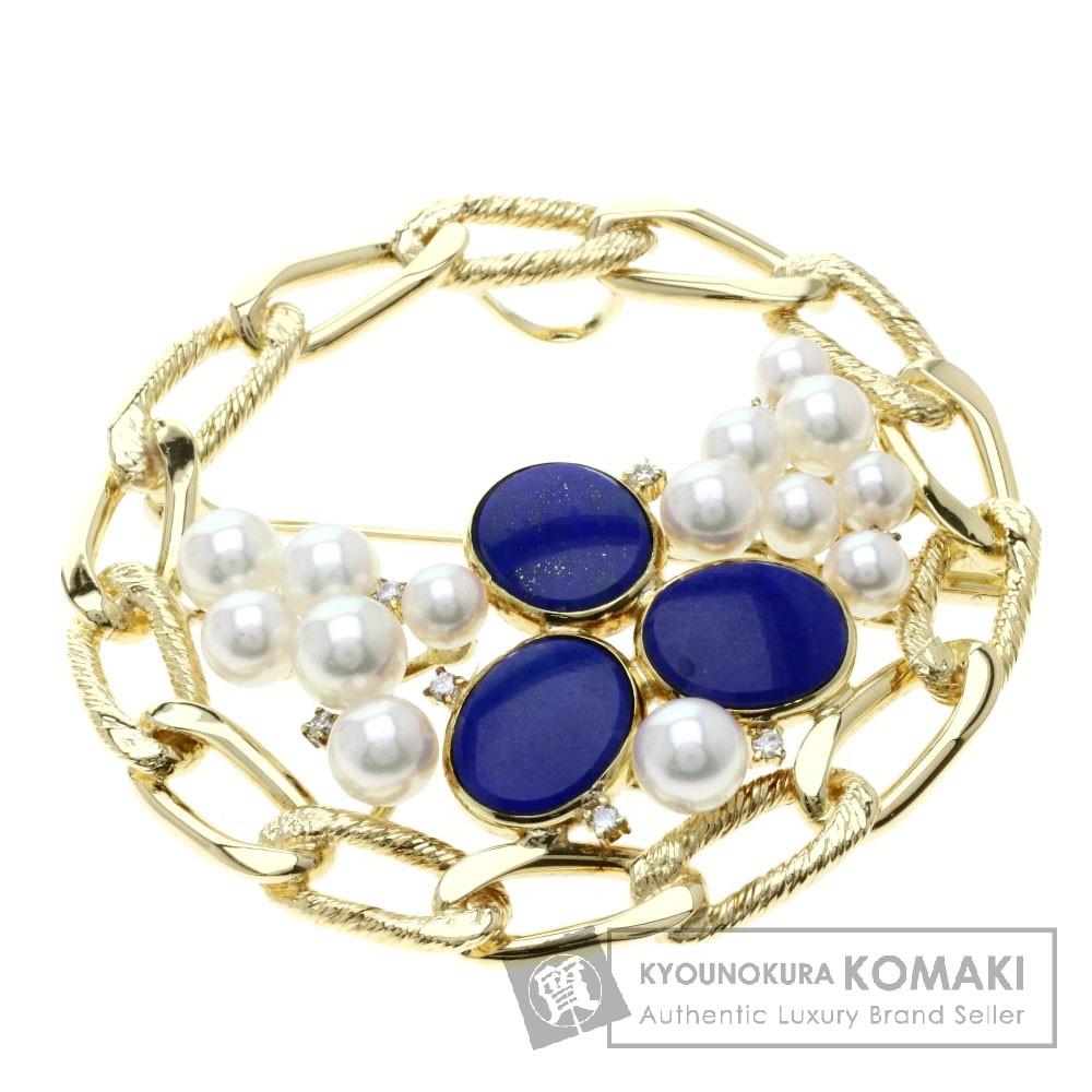 0.14ct ラピスラズリ/パール/真珠/ダイヤモンド ブローチ K18イエローゴールド 28.8g レディース 【中古】