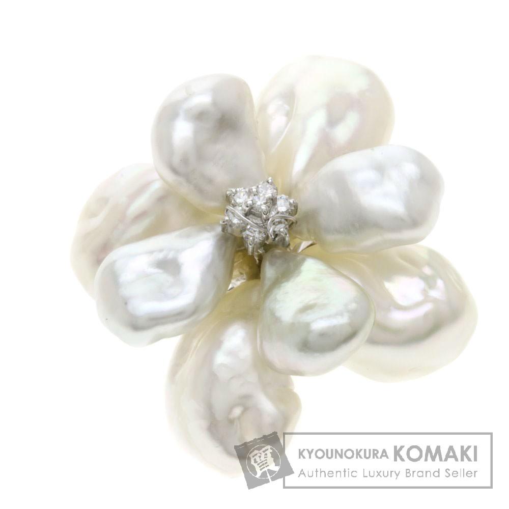 0.14ct パール/真珠/ダイヤモンド/フラワー ブローチ K18ホワイトゴールド/K14WG 10.9g レディース 【中古】