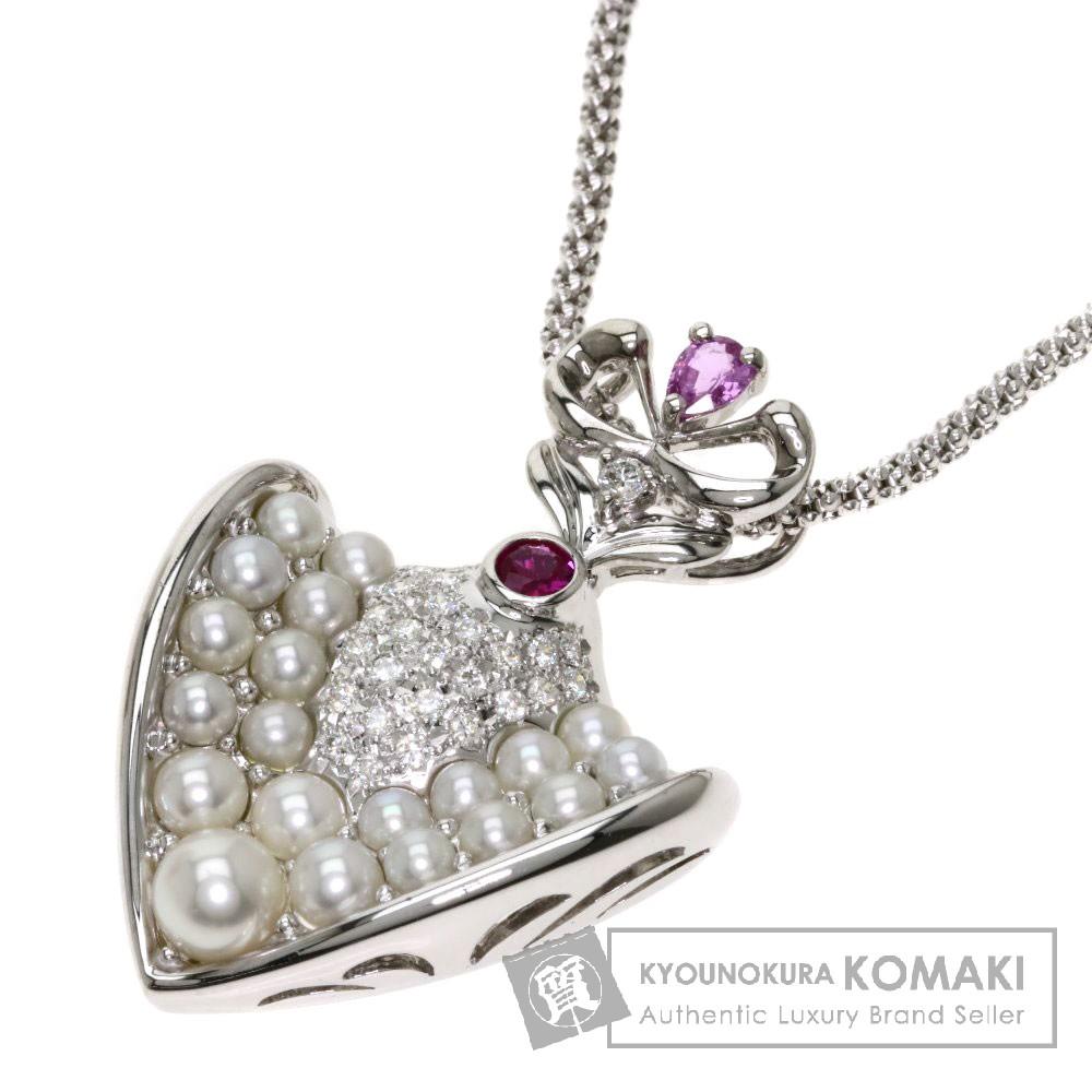 パール/真珠/ダイヤモンド/ピンクサファイア/ルビー ネックレス K18ホワイトゴールド 16.1g レディース 【中古】