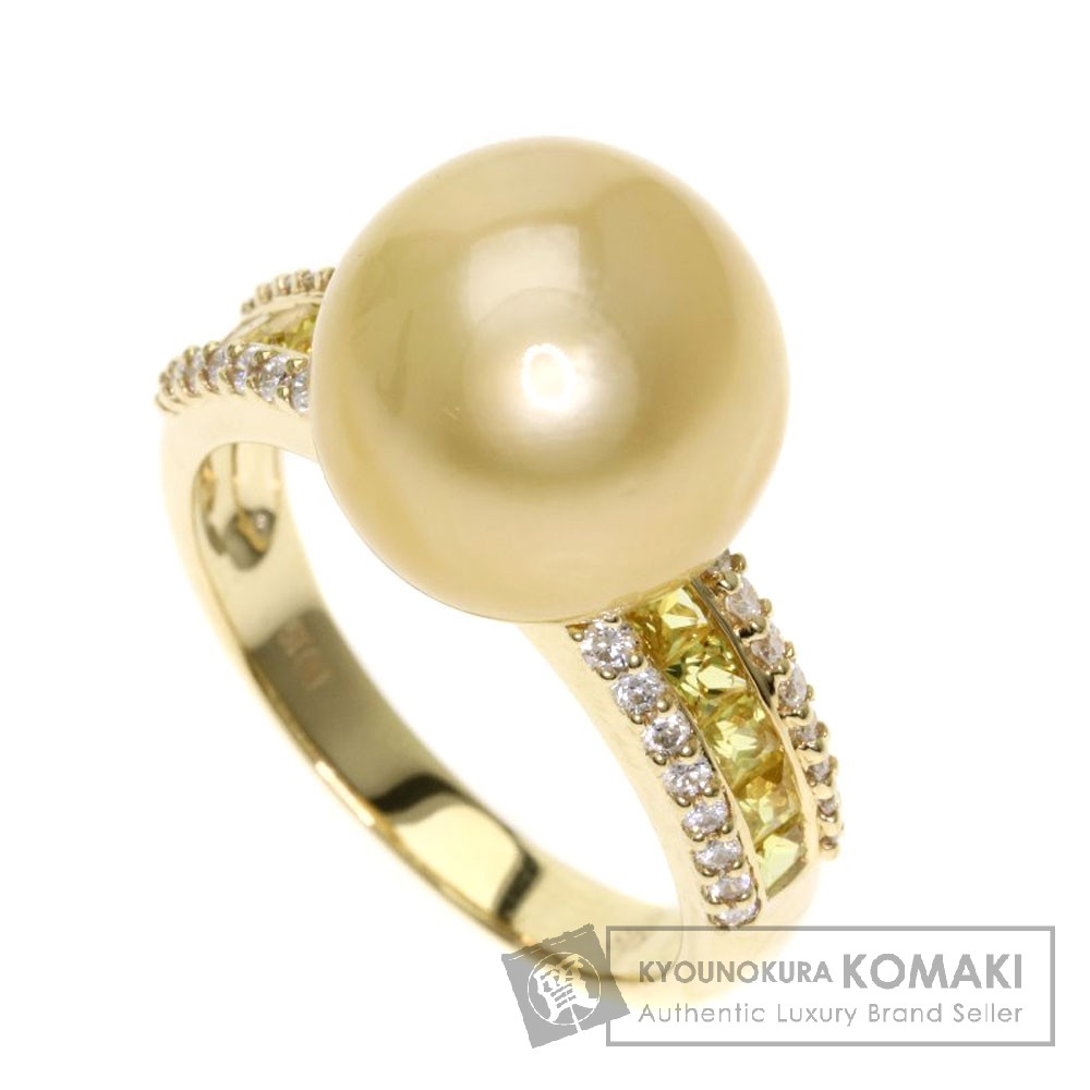 0.19ct パール/真珠/ダイヤモンド/イエローサファイア リング・指輪 K18イエローゴールド 6.3g レディース 【中古】