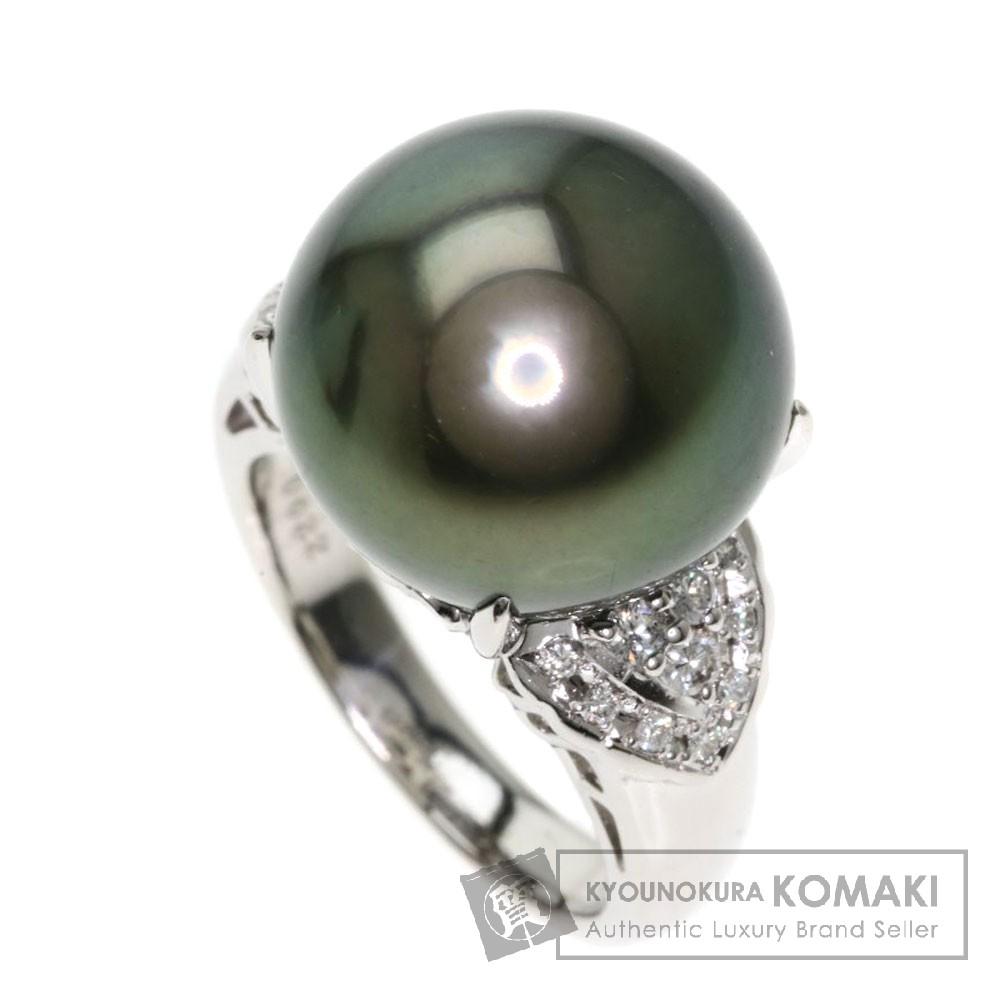 0.22ct ブラックパール/真珠/ダイヤモンド リング・指輪 プラチナPT900 13.5g レディース 【中古】