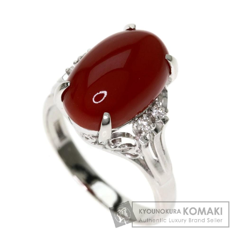 0.07ct サンゴ/珊瑚/ダイヤモンド リング・指輪 プラチナPT900 6.1g レディース 【中古】