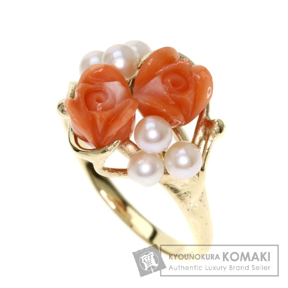 サンゴ/珊瑚/パール/真珠/バラ リング・指輪 K14イエローゴールド 3.6g レディース 【中古】