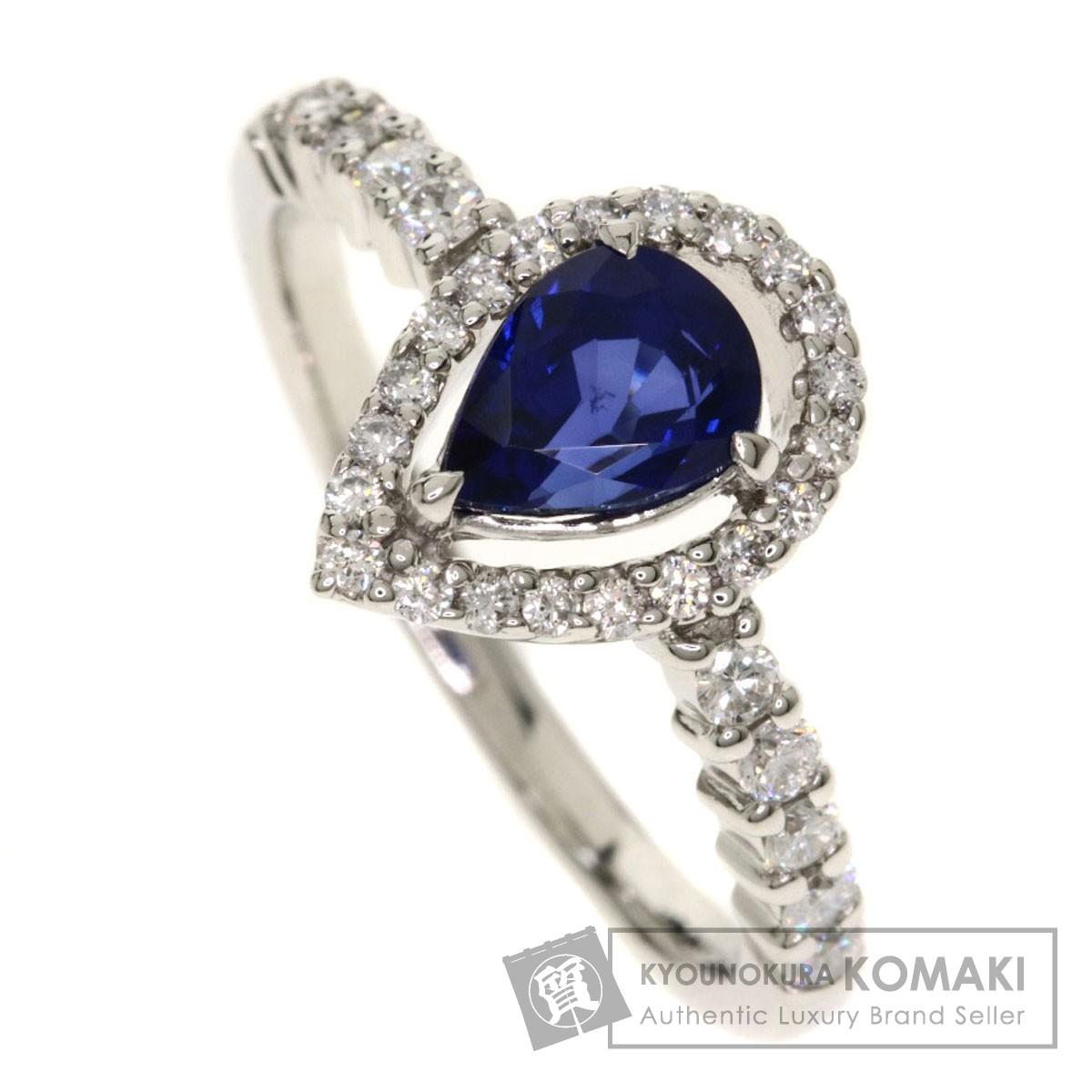 1.095ct サファイア/ダイヤモンド/しずくモチーフ リング・指輪 プラチナPT900 4.4g レディース 【中古】