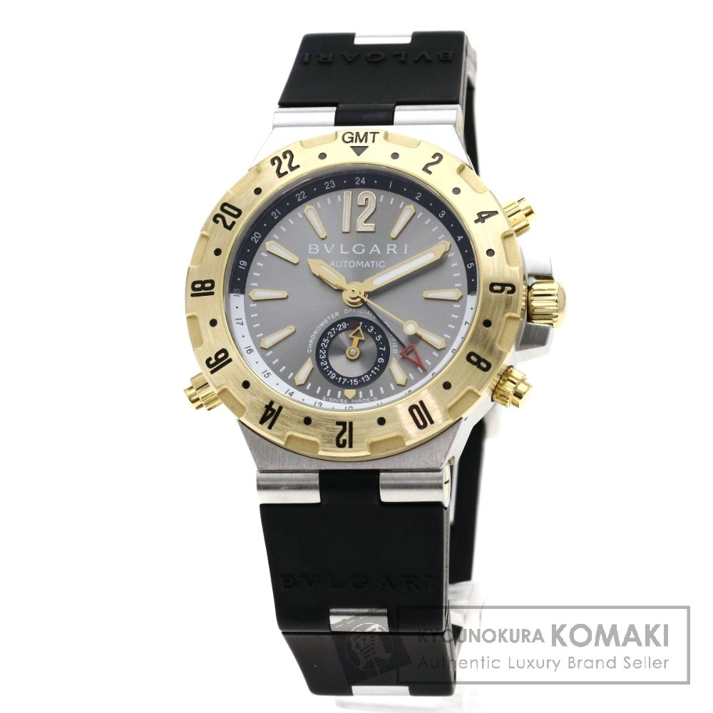BVLGARI GMT40C5SGVD ディアゴノ GMT 腕時計 OH済 ステンレススチール/ラバー/K18YG メンズ 【中古】【ブルガリ】