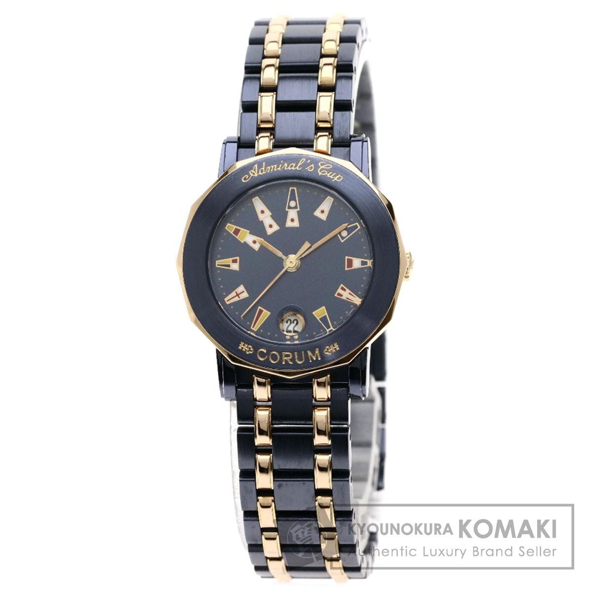 CORUM 39.130.34 アドミラルズカップ ガンブルー 腕時計 ステンレススチール/SSxK18PG レディース 【中古】【コルム】