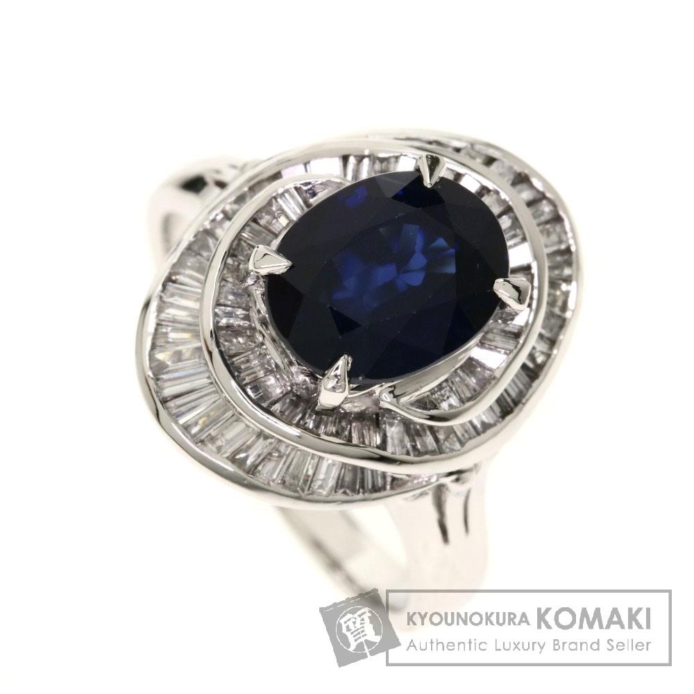 3.64ct サファイア/ダイヤモンド リング・指輪 プラチナPT900 10.9g レディース 【中古】