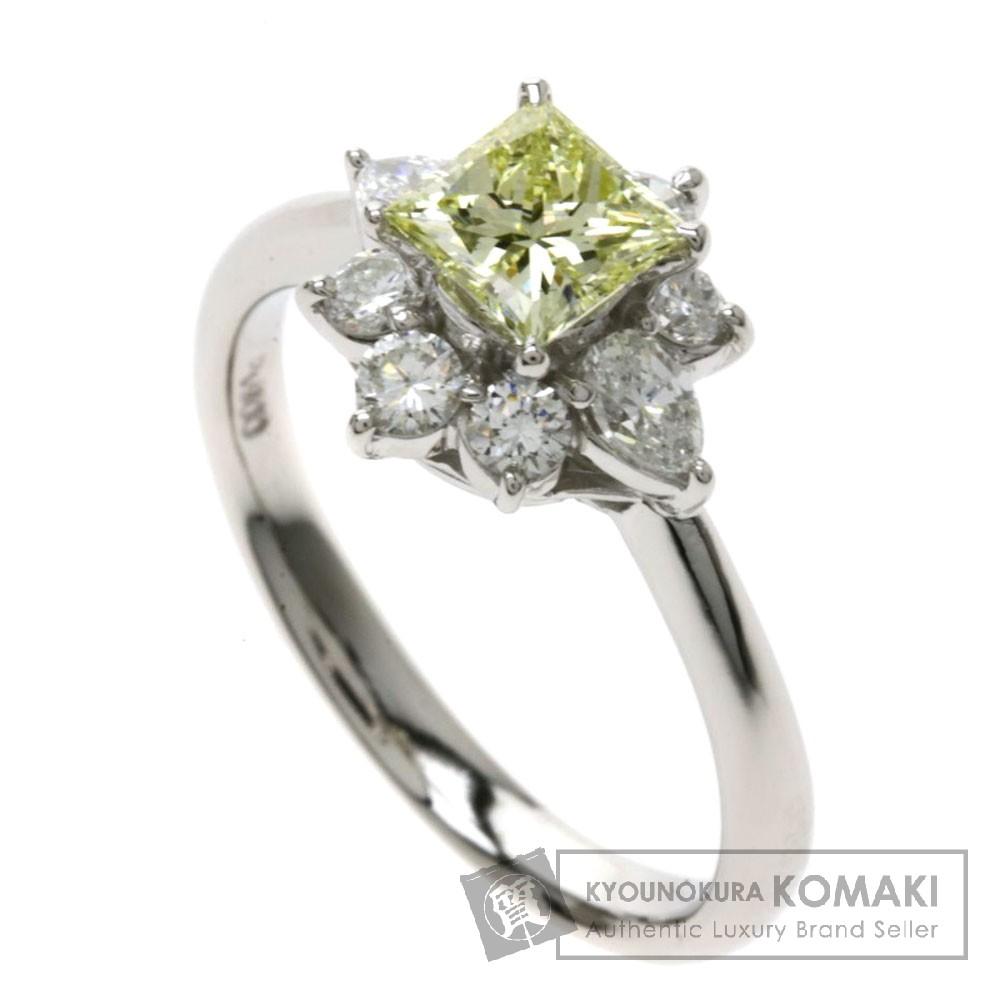 0.696ct イエローダイヤモンド/フラワーモチーフ リング・指輪 プラチナPT900 5.3g レディース 【中古】