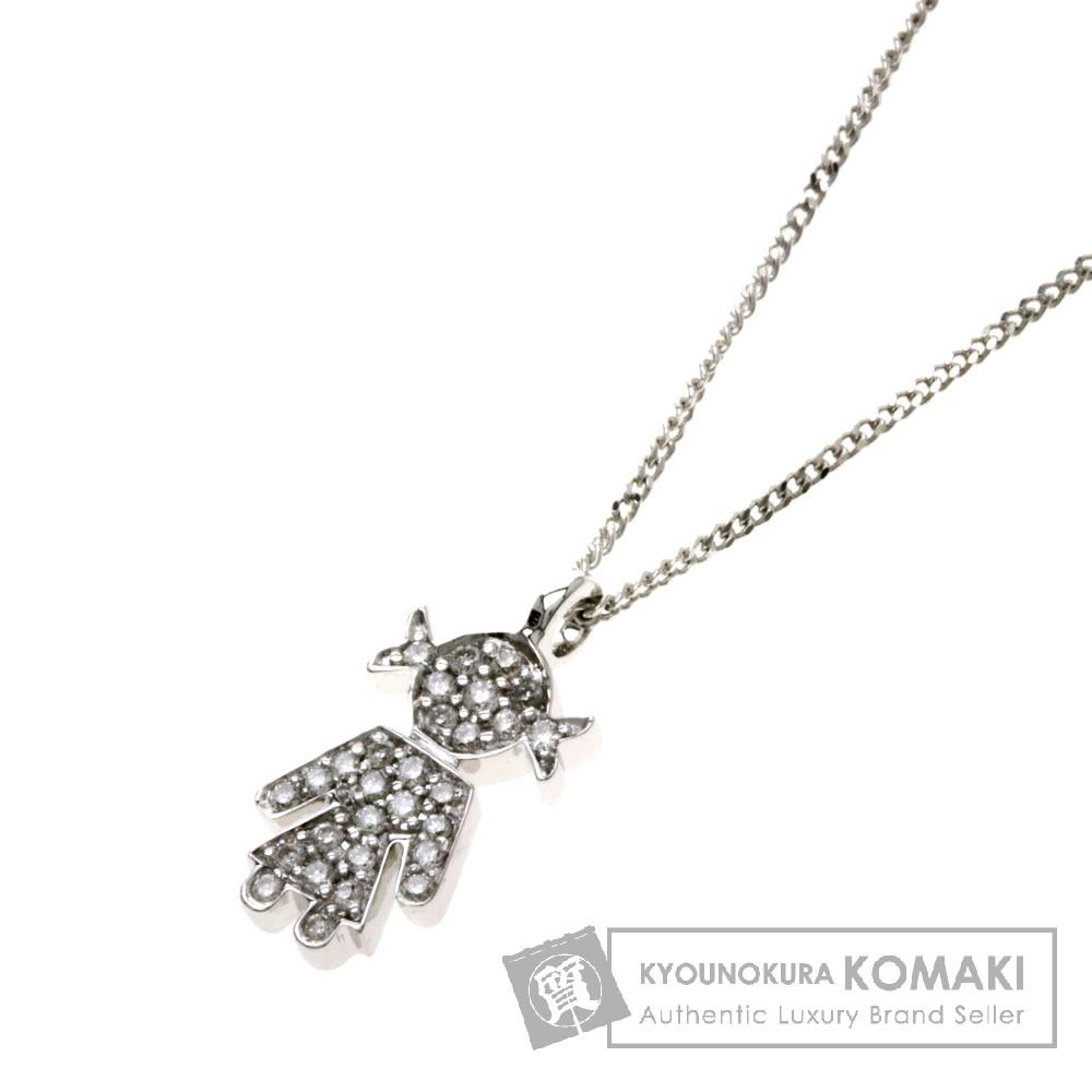 ダイヤモンド/少女モチーフ/EASY ネックレス K18ホワイトゴールド 3g レディース 【中古】