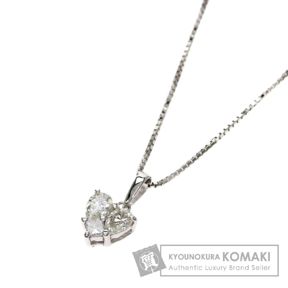 0.34ct ダイヤモンド/ハート ネックレス K18ホワイトゴールド 2.4g レディース 【中古】