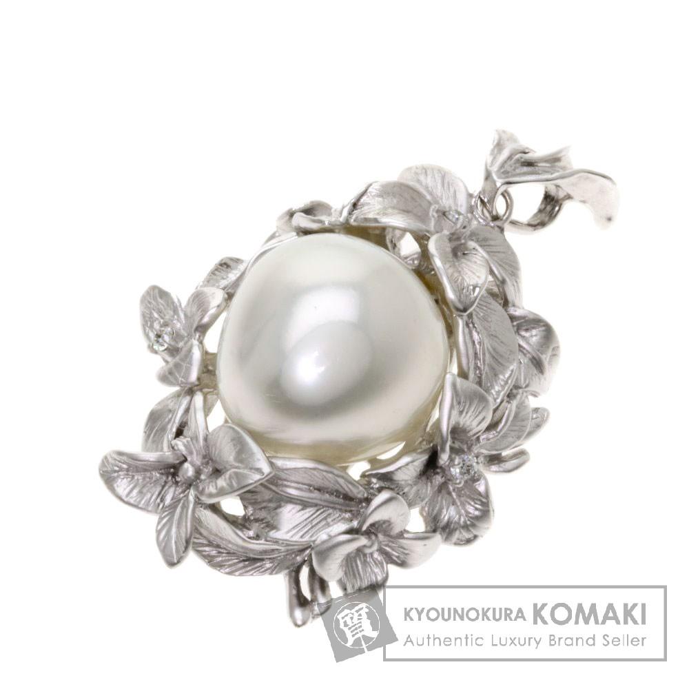 0.06ct パール/真珠/ダイヤモンド ペンダント K18ホワイトゴールド 17.2g レディース 【中古】
