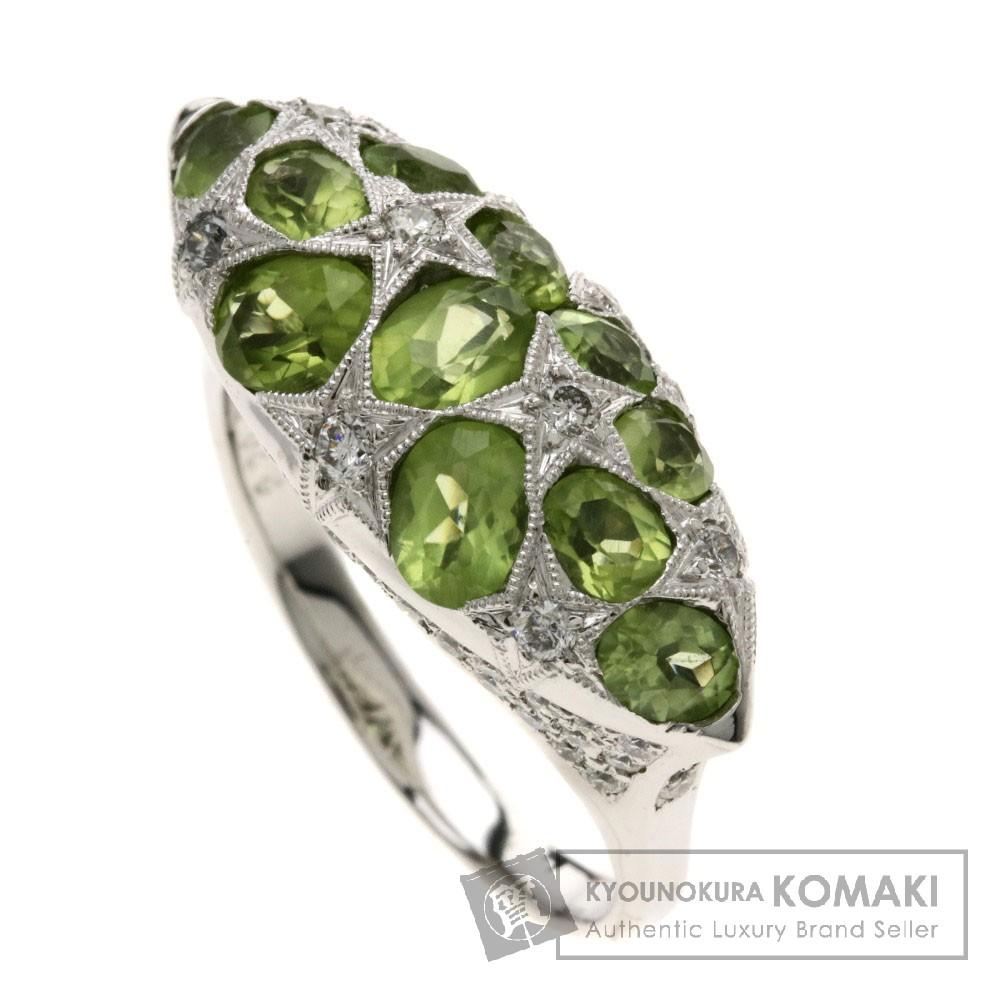 2.7ct ペリドット/ダイヤモンド リング・指輪 K18ホワイトゴールド 8g レディース 【中古】