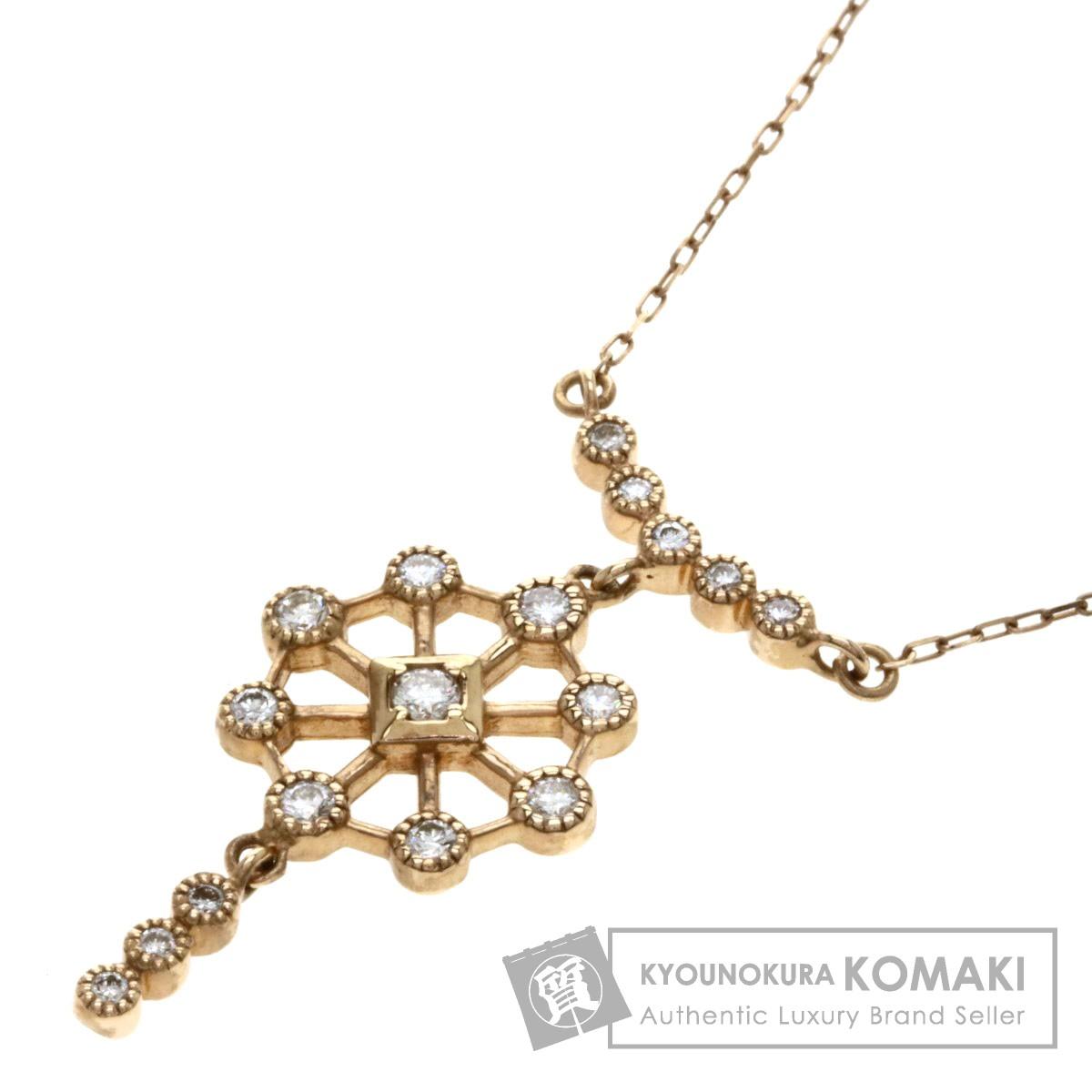 0.29ct メレダイヤモンド ネックレス K18ピンクゴールド 2.9g レディース 【中古】