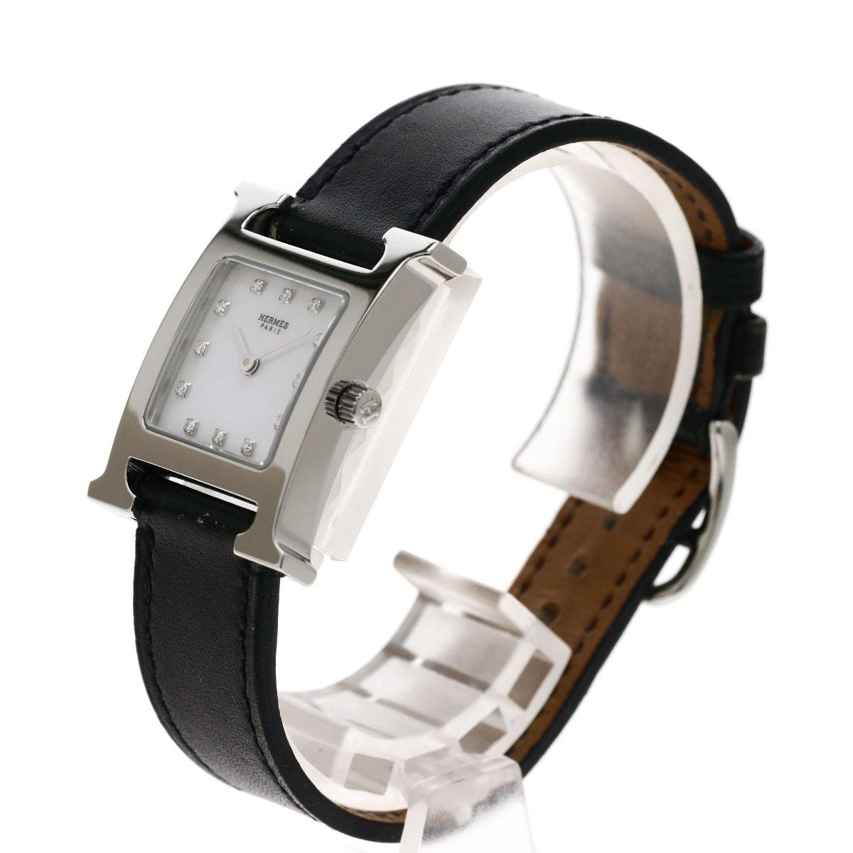 6a314d3d9f ... HERMES HH1.210 Hウォッチ 12Pダイヤモンド 腕時計 ステンレススチール/革 レディース ...
