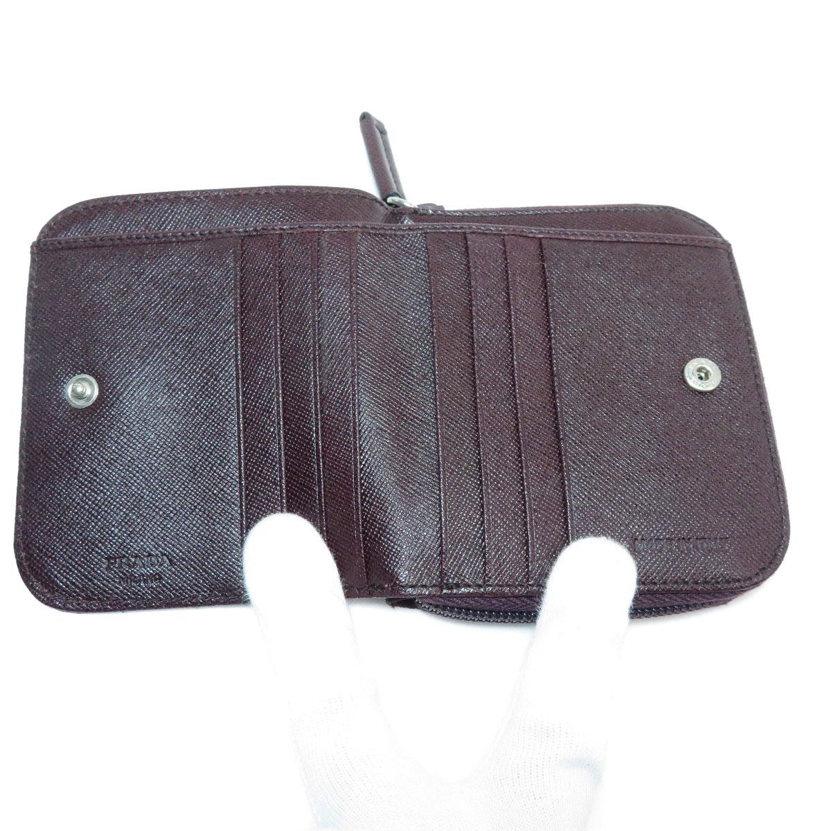 a3bce7a9ba85 PRADA ロゴプレート ステッチデザイン ナイロン素材 レディース 【中古】【プラダ】 二つ折り財布(小銭入れあり)-レディース財布