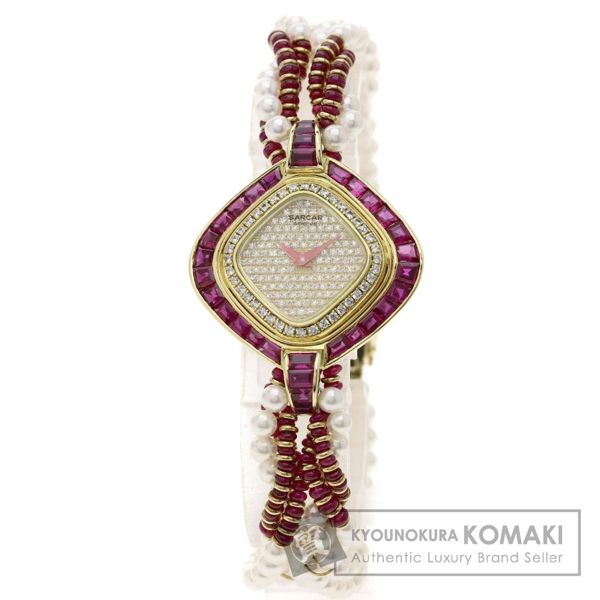 SARCAR パール/真珠/ダイヤモンド/ルビー 腕時計 K18イエローゴールド レディース 【中古】【サーカー】