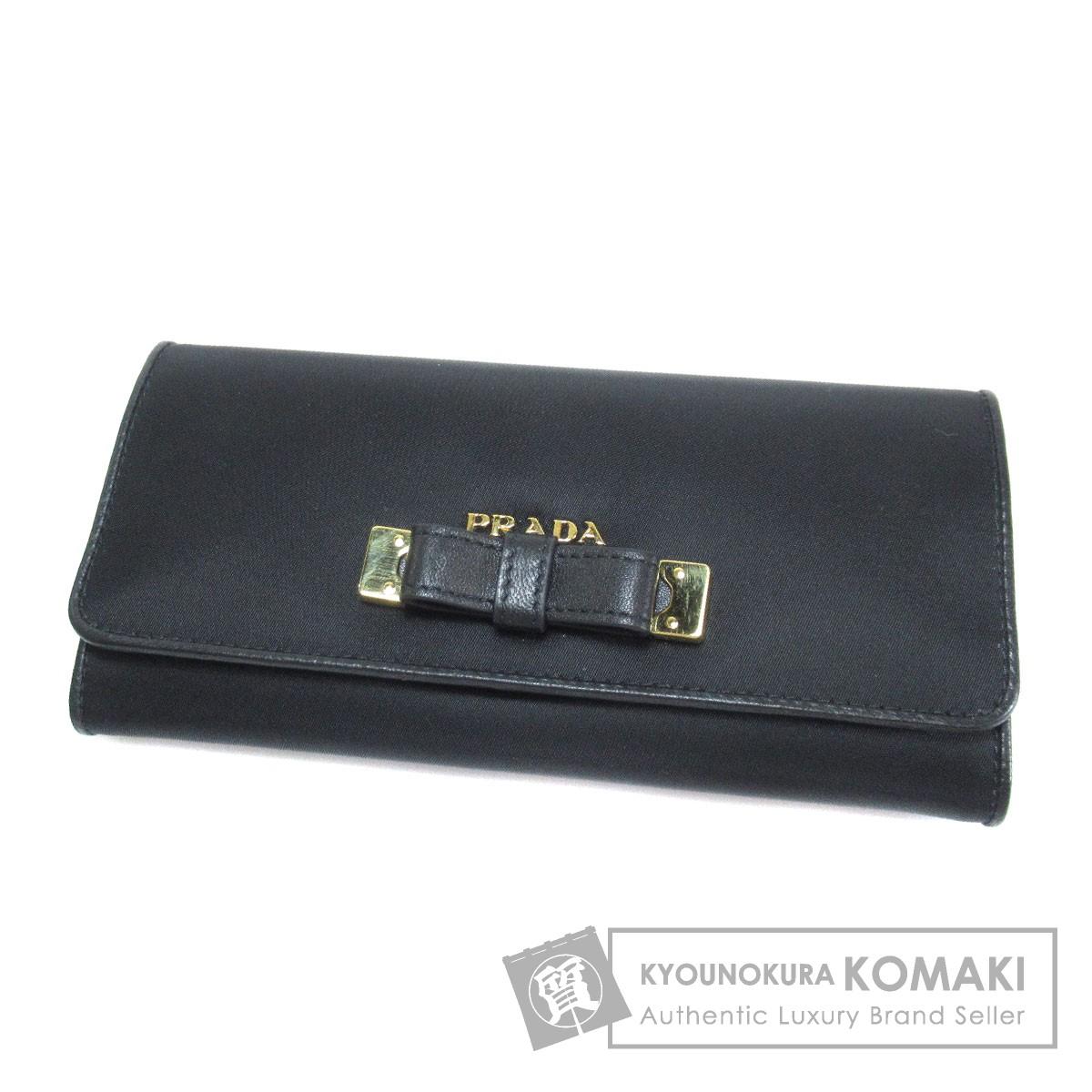 PRADA ロゴモチーフ 長財布(小銭入れあり) ナイロン素材 レディース 【中古】【プラダ】