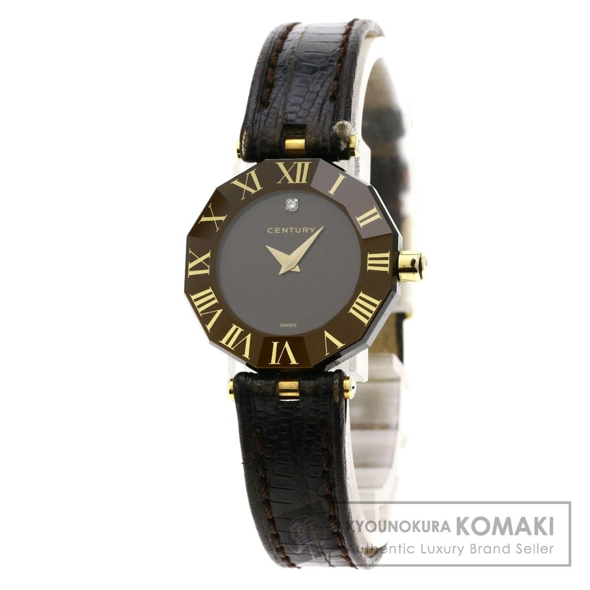 CENTURY プライムタイム 1Pダイヤモンド 腕時計 ステンレススチール/革 レディース 【中古】【センチュリー】