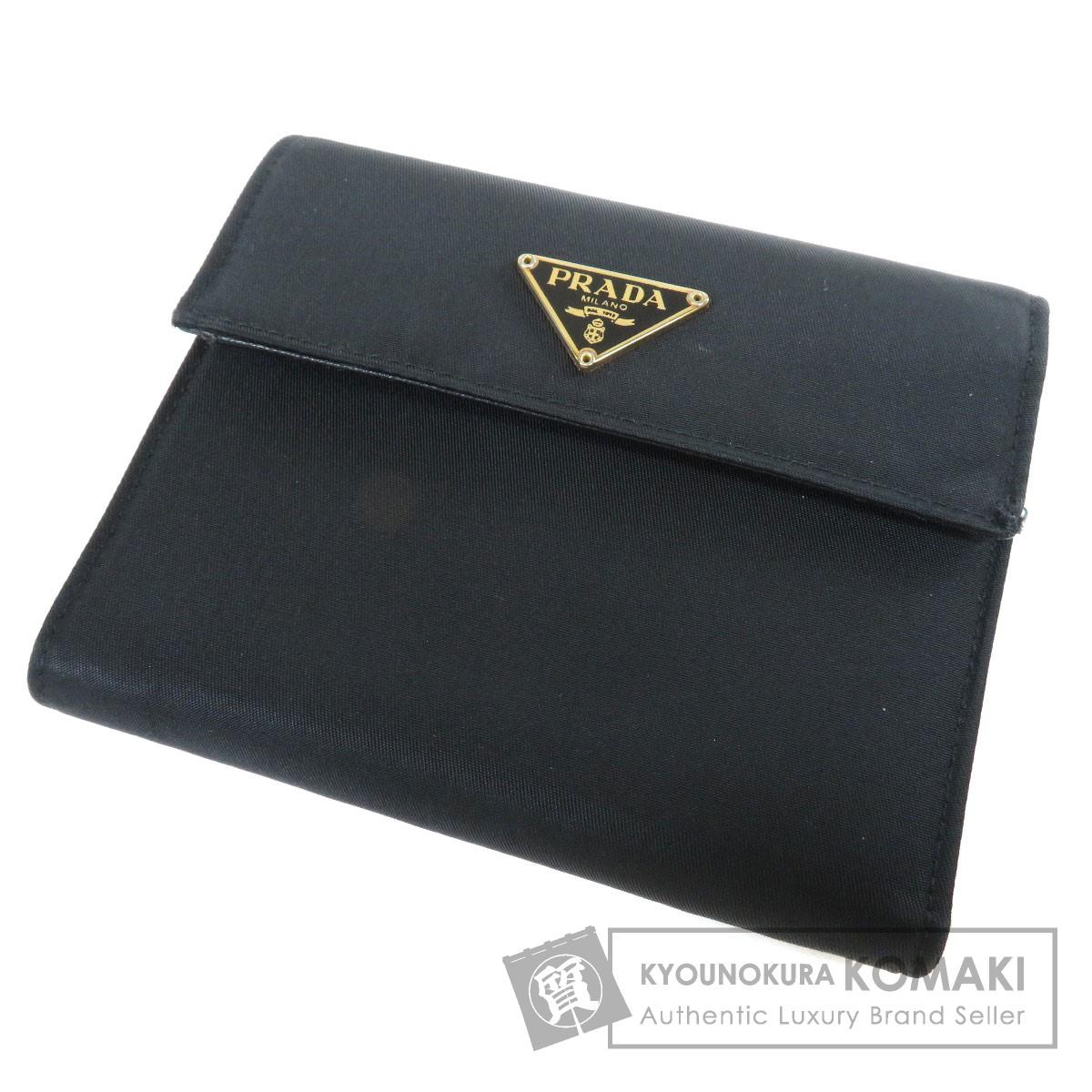 PRADA ロゴプレート 二つ折り財布(小銭入れあり) ナイロン素材 ユニセックス 【中古】【プラダ】