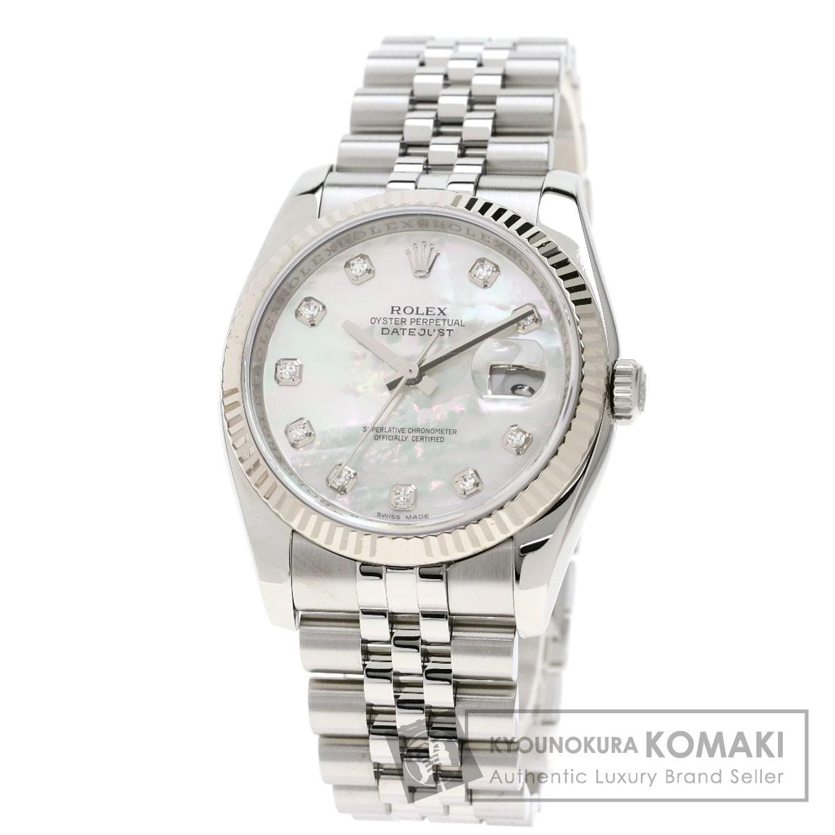 ロレックス 116234NG デイトジャスト 10Pダイヤモンド 腕時計 ステンレススチール/SS/K18WG メンズ 【中古】【ROLEX】
