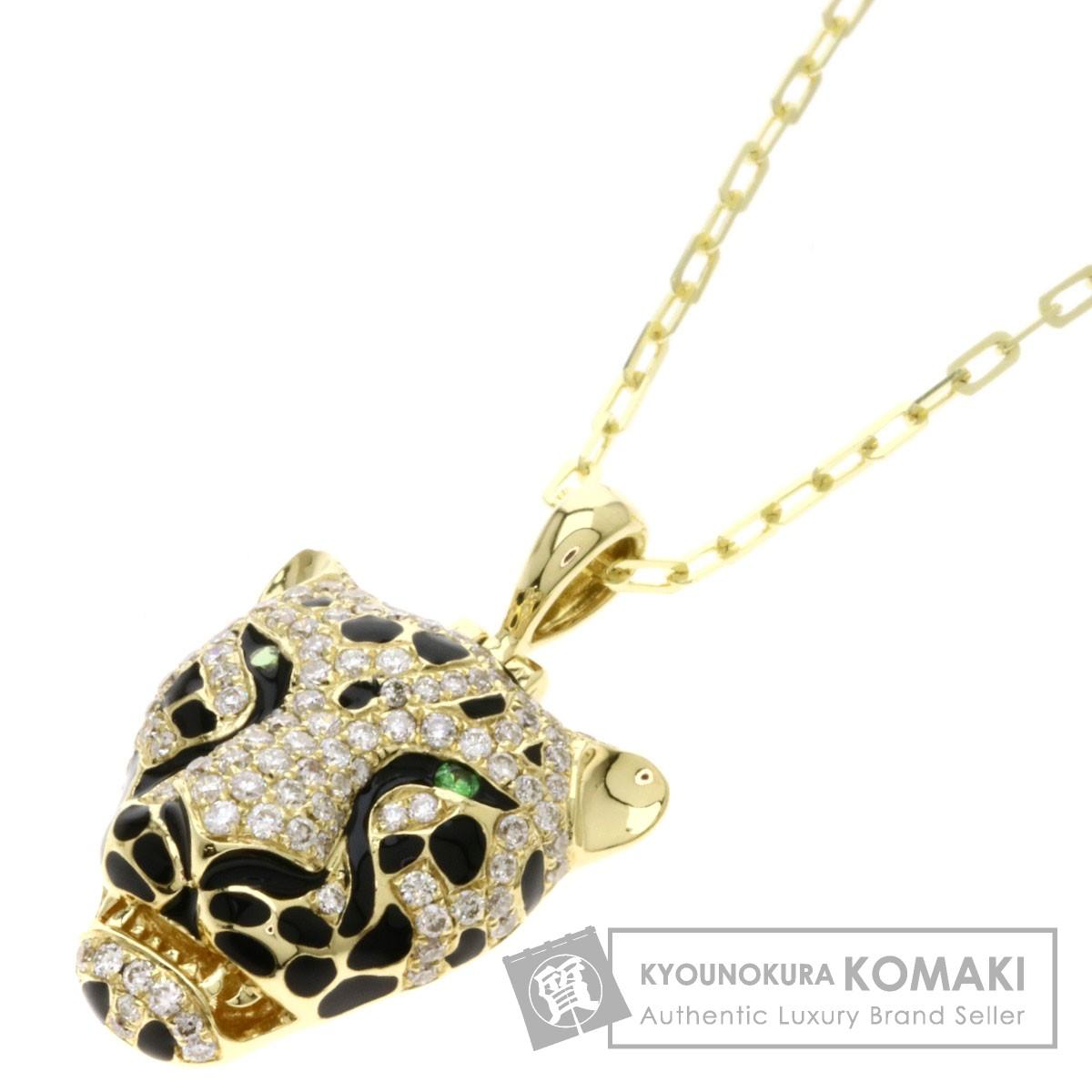 0.03ct 豹モチーフ/グリーンガーネット/ダイヤモンド ネックレス K18イエローゴールド 6.4g レディース 【中古】