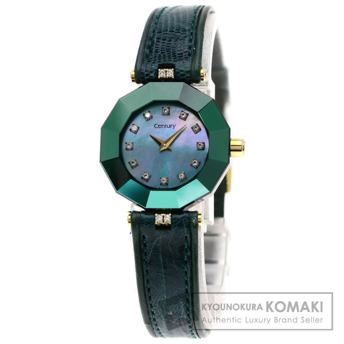 センチュリー プライムタイム 12Pダイヤモンド 腕時計 K18イエローゴールド/革 レディース 【中古】【CENTURY】