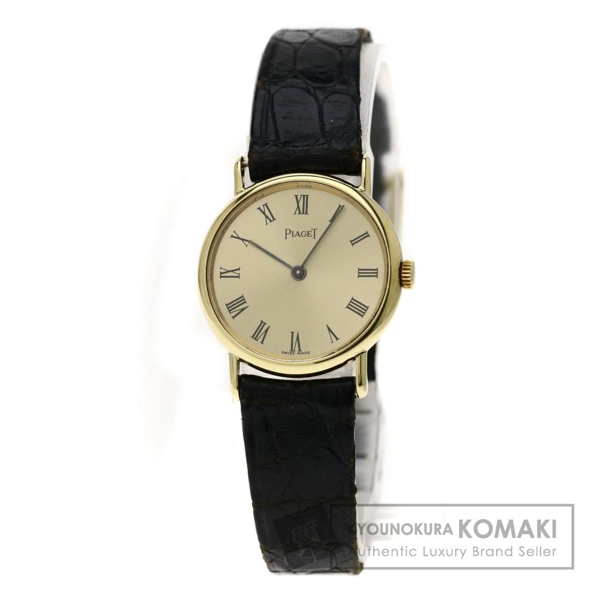 ピアジェ 8055 ラウンドフェイス 腕時計 K18イエローゴールド/アリゲーター レディース 【中古】【PIAGET】