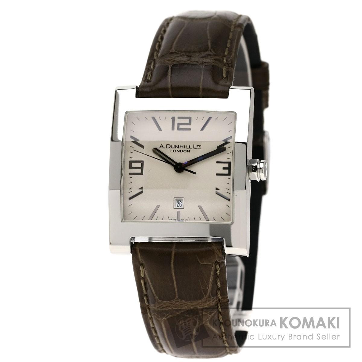 ダンヒル スクエアフェイス 腕時計 ステンレススチール/アリゲーター メンズ 【中古】【Dunhill】