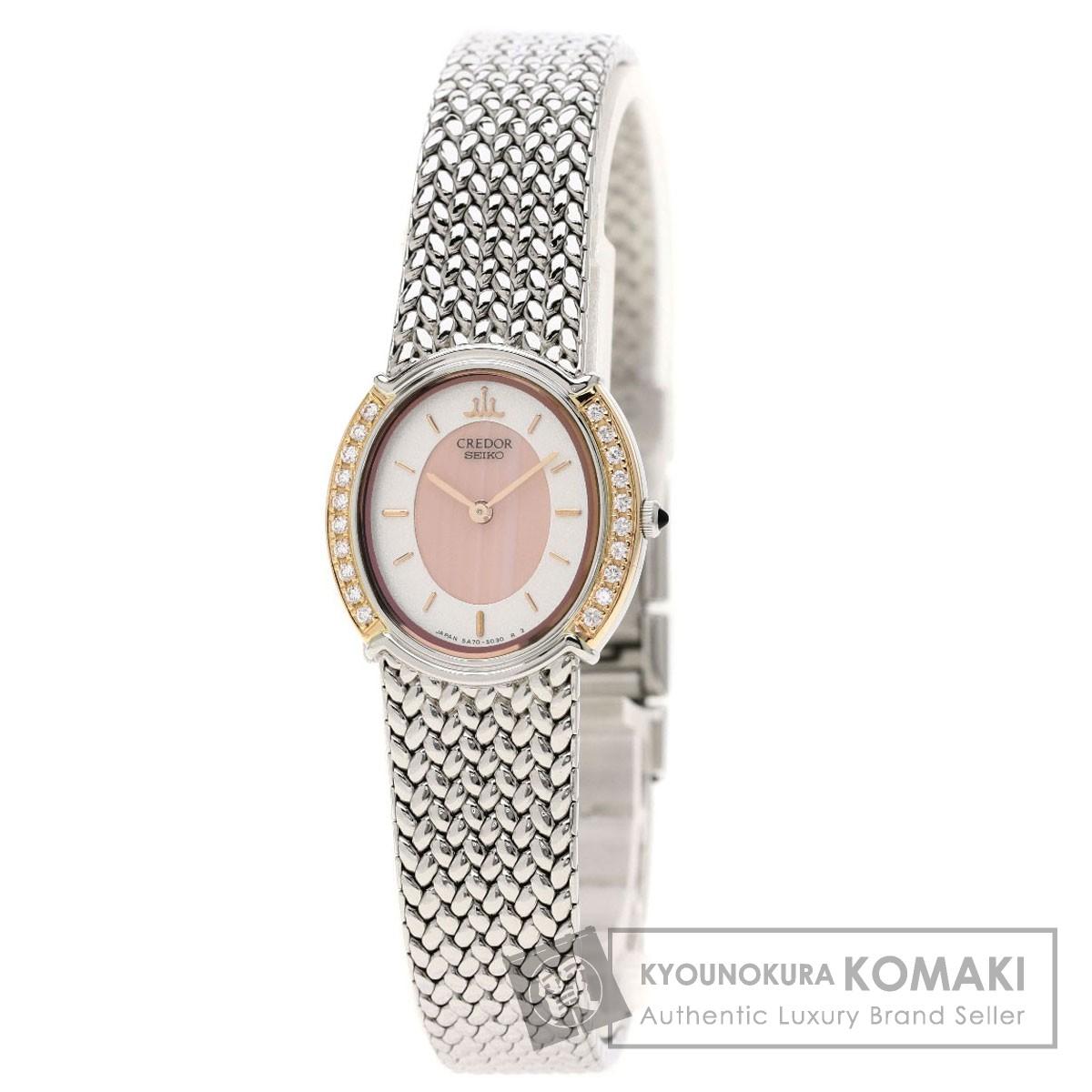 セイコー GSWE986 5A70-3000 クレドール ダイヤモンドベゼル 腕時計 ステンレススチール/SS/K18YG レディース 【中古】【SEIKO】