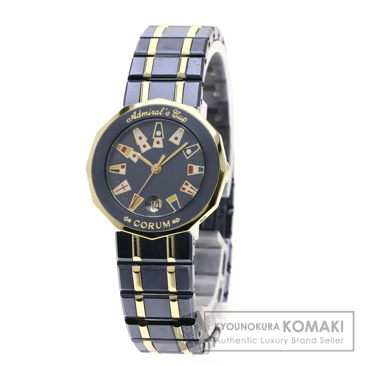 コルム 39.610.31 V52 アドミラルズカップ 腕時計 K18イエローゴールド/SSxK18YG レディース 【中古】【CORUM】