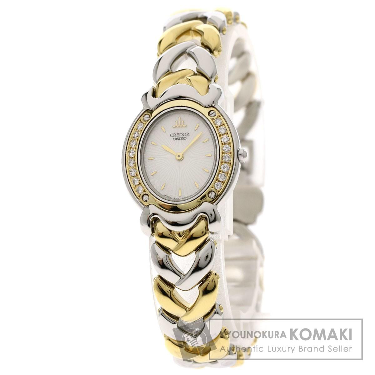セイコー 1E70-3A70 クレドール ベゼルダイヤモンド 腕時計 ステンレススチール/SSxK18YG/ダイヤモンド レディース 【中古】【SEIKO】